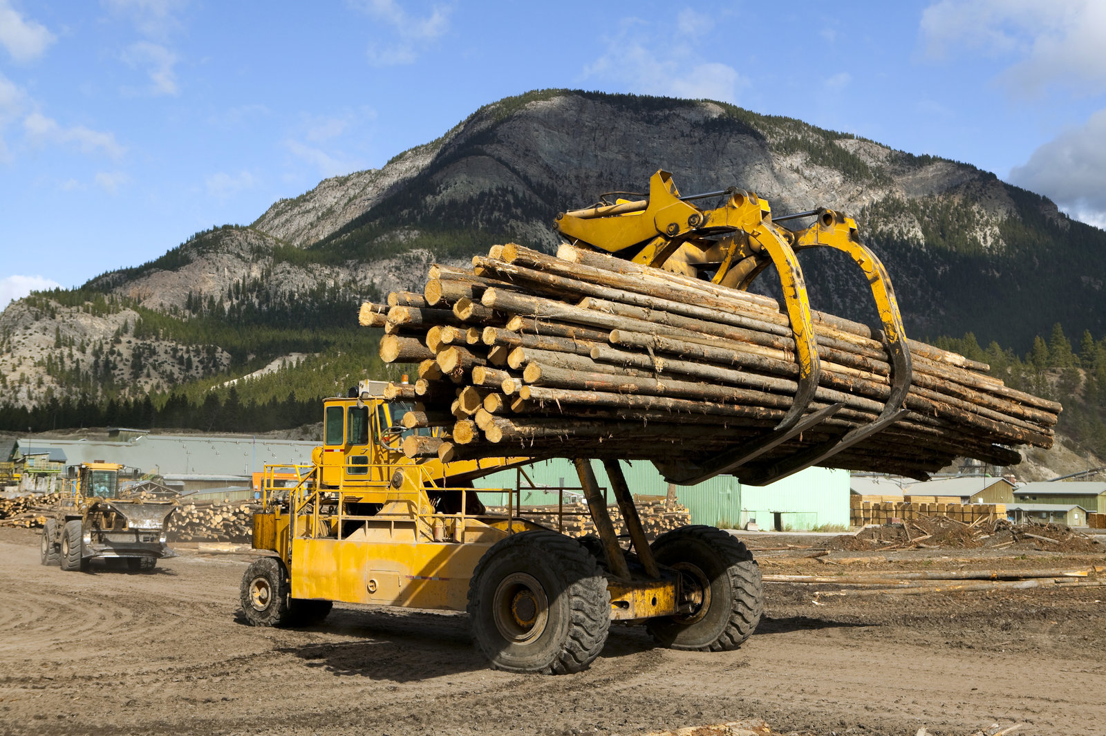 front end log loader logging industry british columbia canada